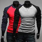 Mens Slim Long Sleeved Stitch Contrast Top - Mens Casual T Shirt USLO