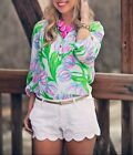 """New Lilly Pulitzer ELSA TOP Silk L 12 """"Resort White Ring The Bellboy"""" Floral NWT"""