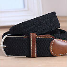 LO Quality Men's Elastic Fabric Woven Braided Stretch Belt Leather Inlay UKSL