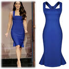 Ladies Strap Evening Wedding Formal Party Peplum Knee Bodycon Dresses Size 8-16