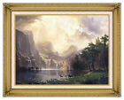 Framed Canvas Art Print Among The Sierra Nevada Mountains Albert Bierstadt Repro