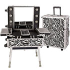 Zebra Rolling Studio Makeup Artist Cosmetic Case Table with Ligths & Legs C6010