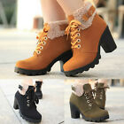 Womens Chunky High Heels Faux Fur Lace Up Cleated Sole Leather Short Ankle Boots