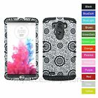 For LG G3 Flower Design Rugged Hybrid Hard & Silicone Rubber Impact Case Cover