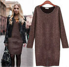 Tide Women Winter Warm Round Neck Package Hip Dress Long-sleeved Knitting Skirt