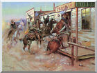Western Stretched Art Print In Without Knocking by Charles Marion Russell Repro