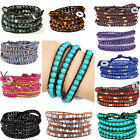 36-39''L Faceted Grass Agate Beaded Strand Woven Wrist 5 Wraps Leather Bracelet