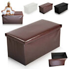 High Quality Leather Ottoman Folding Storage Pouffe  Seat Stool Box UK Seller