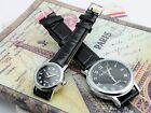 Elegant Fashion Pair Lover Silver Black Dial Leather Band Mechanical Wrist Watch