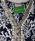 """New Lilly Pulitzer WILDA CAFTAN XS / S / M """"Bright Navy In The Groove"""" Dress NWT"""