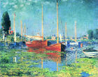 Giclee Art Prints on Canvas Red Boats Argenteuil Seascape by Claude Monet Repro