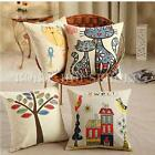 Kids Animal Vintage Linen Cotton Cushion Covers Throw Pillow Case Sofa Car Home