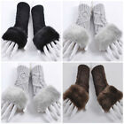 Lady Faux Wool Fashion Hand Wrist Mittens Warmer Winter Fingerless Half Gloves