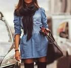 Unique Girl Slim Fit Denim Jean Trench Coat Long Jacket Outwear Dresses New - CB