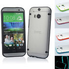 Hybrid Transparent TPU Gel Skin Case Cover for HTC One M8 Screen Protector + Pen