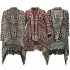 Ladies Cardigan Womens Cape Knitted Waterfall Jumpers Poncho Aztec Winter New