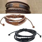 Mens Fashion Punk Handmade Black Brown Leather Surfer Braided Wristband Bracelet