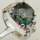 Size 6 7 8 9 Classy Nice Rainbow Topaz 12*12mm Gems Gold Filled Woman Ring K2153