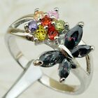 Size 6 7 8 9 Multi-color Flower Butterfly Rainbow Topaz gold filled Ring K1748