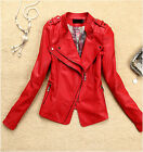 2014 New Women Lady Cool Leather Coat Short Motorcycle Jacket Spring Clothing