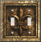Light Switch Plate Cover - French Fleur De Lis - Aged Stone Image - Brown Decor