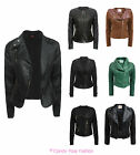 NEW LADIES BIKER JACKET QUILTED PVC FAUX LEATHER PU GOLD ZIP COAT SIZE 8-14