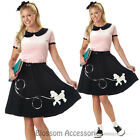CL37 50s Hop with Poodle Skirt Grease Poodle Bopper Fancy Dress Womens Costume