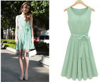 Chic Green Womens Sleeveless Pleated Skirt Vest Chiffon Casual Dress LM S +Belt