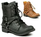 Faux Leather Round Toe Lace-Up Military Combat Ankle Boots Press-43 Black Brown