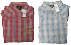 Double Ralph Lauren RRL Mens Red Blue Western Slim Fit LS Snap Button Down Shirt
