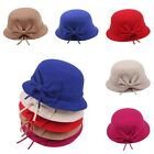 New Vintage Fashion Womens Wool Cute Bowknot Bowler Fedora Derby Hat Cloche Cap
