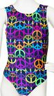 NWT Destira Gymnastic Tank Leotard Multi Color Peace Sign Girls Sizes 1163