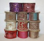 luxury christmas ribbon GLITTER gift wrapping bow making tree crafts wired ideal