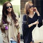 Womens Batwing Loose Irregular Knit Cardigan Pullover Jumper Hooded Sweater new