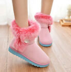 Flat Mukluks Women's Furry Ankle Boots Warm 4 Colors Fuax Fur Shoes Rhinestone