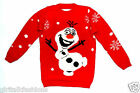 CHILDRENS RED OLAF FROZEN CHRISTMAS JUMPER CHILDRENS BOYS GIRLS AGE 5 TO 13 NEW