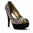 Ladies Black Diamond Embellished Peep Toe Platform High Heel Shoes UK 4 or 5