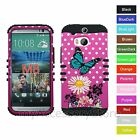 For HTC One M8 Butterfly & Flowers Hybrid Rugged Impact Armor Phone Case Cover
