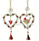 Chic & Shabby Twisted Wire Holly & Berries Hanging Metal Heart Bird Decoration