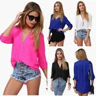 Fashion Womens Loose Chiffon V-Neck Tops Long Sleeve Shirt Casual Blouse Sexy