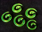 Lots 12 Pieces Green Earrings Ear Plugs Rings Earlets Spiral Body Piercing