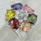 Size 5.5 6.5 7.5 Hot Multi-color Flower Jewelry Gold Filled Woman Gift Ring K820
