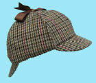Deerstalker Sherlock Holmes Biege Tan Brown Tweed Hat