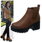 Ladies Chelsea Boots Chunky Mid Heel Ankle Winter Casual Comfort Boots Shoes