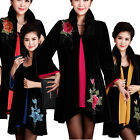 Middle-aged Mothers Fashion Slim Fit Temperament Embroidered Velvet Coat XZ0056