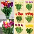 10X Artificial Tulip Silk Flowers Leaf Floral Home Garden Party Wedding Decor