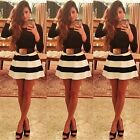 Elegant Women Long Sleeve Black White Stripes Swing Skater Party Prom Dress-CB