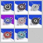 2pc 8Color Crystal Rhinestone Evil Eye Round Connector Finding Spacer Bead Charm