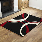 SMALL MEDIUM LARGE EXTRA LARGE BLACK CREAM RED CURVES PATTERN HAND CARVED RUG