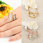 Crystal Element 18K Yellow White Gold Gp Wing Shaped Finger Rings Arinna